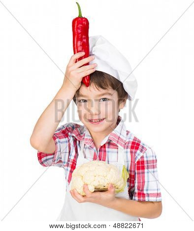smilimg boy with red pepper and cauliflower isolated on a white background