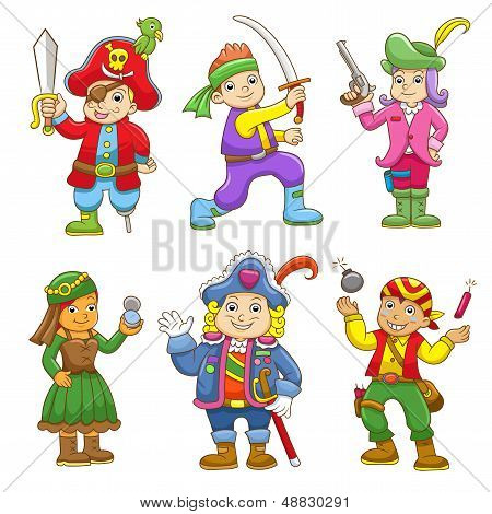 set of pirate child cartoon.
