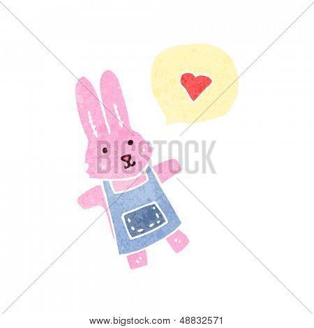 retro cartoon pink rabbit with speech bubble