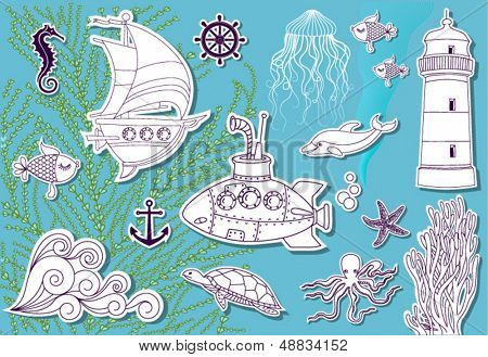 Doodle Sea - Hand drawn set of sea symbols, including sailing boat, submarine, dolphin, jellyfish, lighthouse and sea turtle