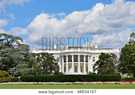 The White House in a dramatic cloudy summer day