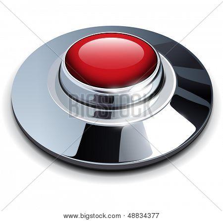 Botón rojo web con cromo, elementos metálicos, ilustración vectorial.