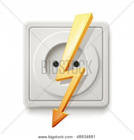 White electric socket isolated on a white background with a warning sign about the dangers