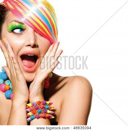 Beauty Girl Portrait with Colorful Makeup, Hair, Nail polish and Accessories. Colourful Studio Shot of Funny Surprised Woman. Vivid Colors. Open Mouth, Emotions
