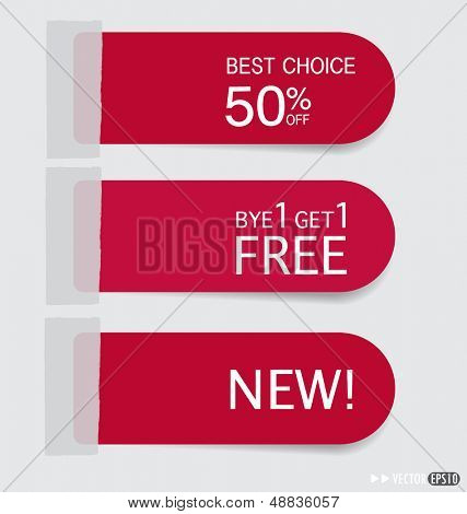 Set of sticker price tag, discount tags for price list. Vector illustration.