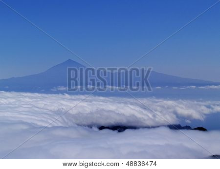 View Of Teide From Mount Of Garajonay On Gomera