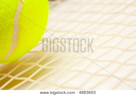 Abstract Tennis Ball, Racquet And Strings