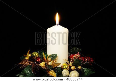 White Christmas candle.