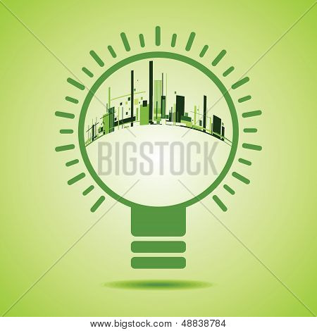 Eco City inside of a green light bulb