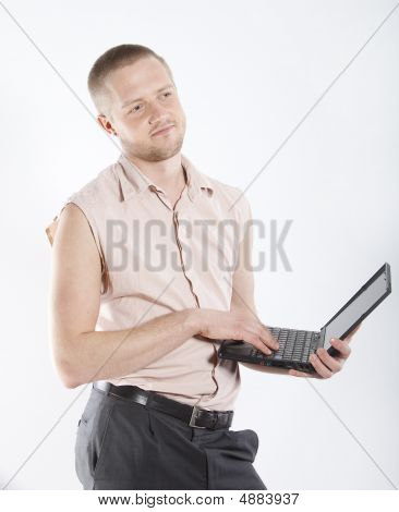 Smiling Man With Notebook