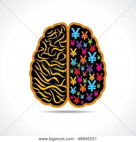Conceptual idea silhouette image of brain with yen symbol