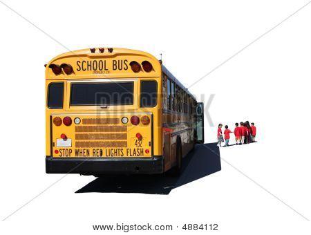 Escola com idades entre as crianças que partem de um ônibus escolar