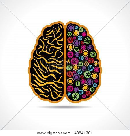 Conceptual idea-silhouette image of brain with gear