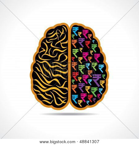 Conceptual idea-silhouette image of brain with rupee symbol stock vector