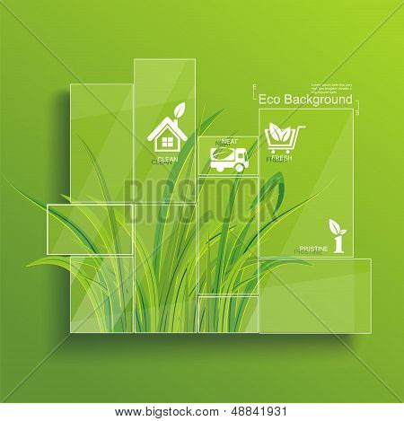 Environment Concept. Grass Behind The Glass.