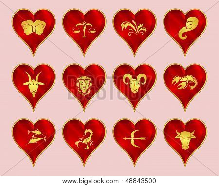 set of zodiac signs, heart