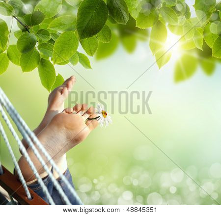 Relax in nature. Feet close up in a hammock