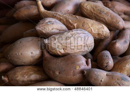 Pile of Yams or Sweet Potatoes at the farmers market