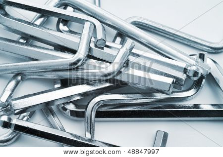 closeup of a pile of different hex keys