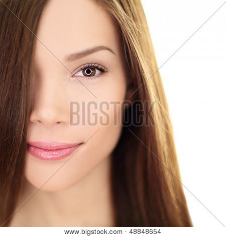 Hair care beauty woman with long hair. Female brunette beauty and hair treatment close up. Mixed race Asian Chinese / Caucasian female model in her 20s isolated on white background.
