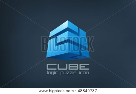 Cube technology abstract vector logo template. Logic Puzzle box icon. creative design.