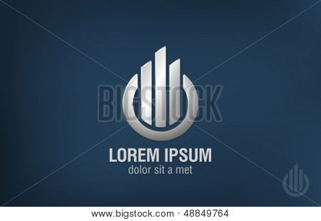Business technology abstract vector logo template. Metal icon. Creative design template.