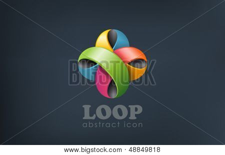 Flower abstract looped logo design templ. Fun, event, celebrate icon. Colorful loop creative design.