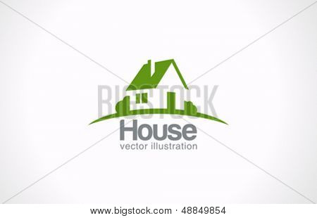 Haus abstrakte Immobilien Landschaft Logo Vorlage. Realty Icondesign