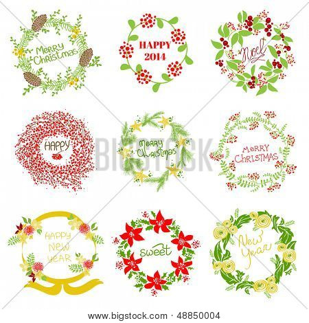 Set of Vintage Christmas and New Year Wreath - for design and scrapbook - in vector
