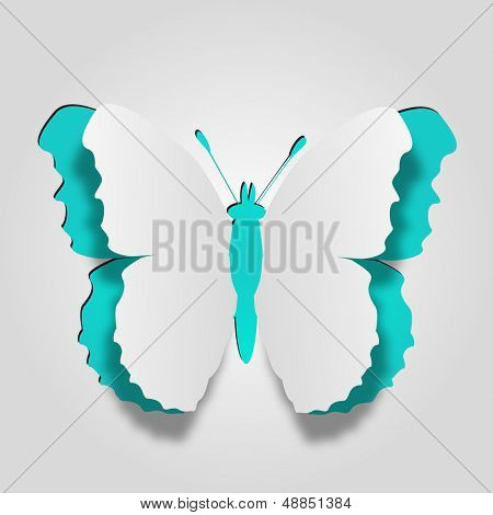 High resolution 3D abstract concept or conceptual white paper with blue  background butterfly shape or symbol