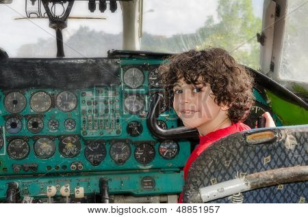 Playing In Old Plane Cabin