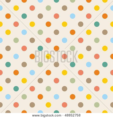 Seamless vector pattern or background with colorful yellow, orange, pink, green and blue polka dots