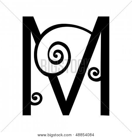 ornamental letter M isolated on white background