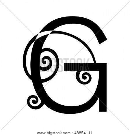 ornamental letter G isolated on white background