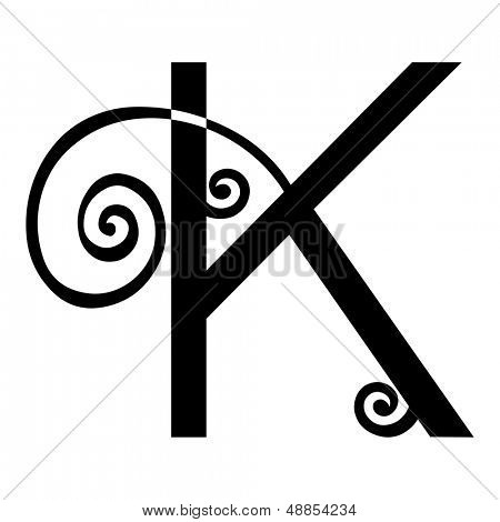 ornamental letter K isolated on white background