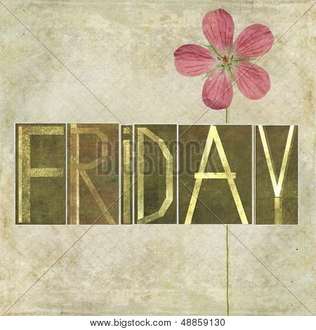 "Earthy texture background and design element depicting the word ""Friday"""