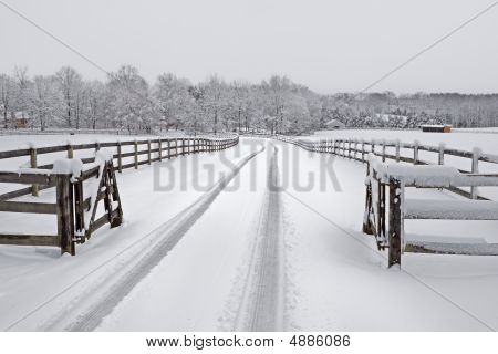 Snowy Countryside Driveway