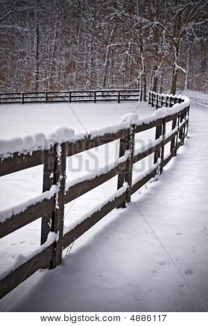 Snowy Fence Line