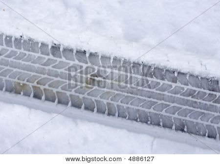 Snowy Tire Track