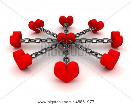 Eight hearts linked by black chain to one heart in center. Concept 3D illustration.