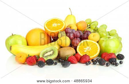 Fresh fruits and berries isolated on white