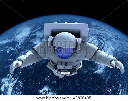 "The astronaut  in outer space""Elemen ts of this image furnished by NASA"""