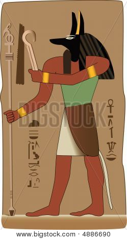 Anubis ägyptische Gott im Vektor mit ägyptischen symbol