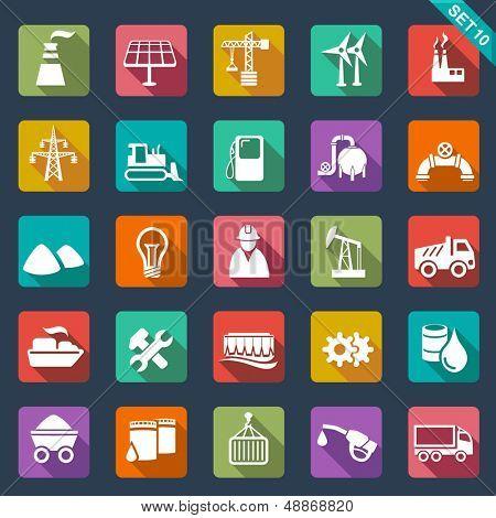Iconos de la industria - diseño plano