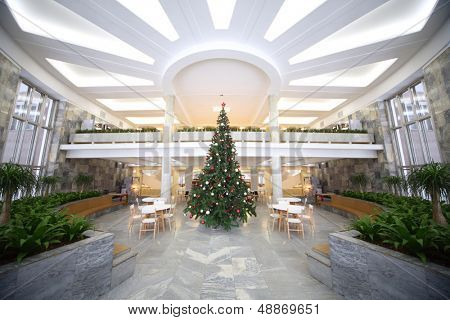 MOSCOW - DEC 30: Hall with a New Year tree in the Cultural Center ZIL, December 30, 2012, Moscow, Russia. In December 2012 Centre celebrated its 75th anniversary