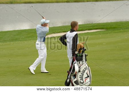 MOSCOW, RUSSIA - JULY 28: David Horsey of England with his caddie during final round of the M2M Russian Open at Tseleevo Golf & Polo Club in Moscow, Russia on July 28, 2013