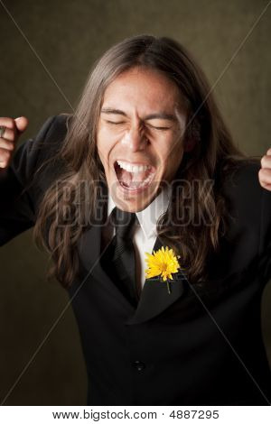 Handsome Man In Formalwear Screaming