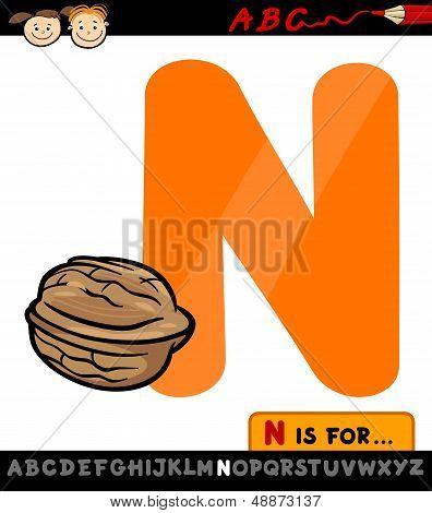 Letter N With Nut Cartoon Illustration