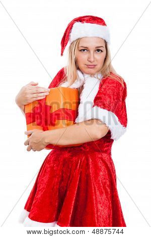 Greedy Christmas Woman With Present