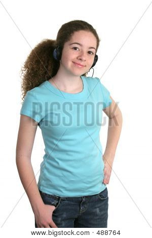 Girl Blue Shirt Headphones